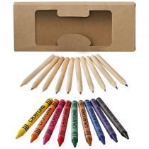 19 Delige set waskrijtjes en kleurpotloden