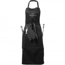 Bear barbequeschort met keukengerei en handschoen