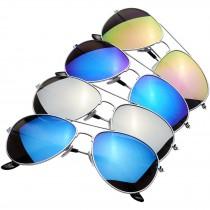 Aviator zonnebril met gekleurde spiegelglazen